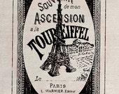Clip Art Designs Transfer Digital File Vintage Download DIY Scrapbook Shabby Chic Old Retro Eiffel Tower Paris France 1889 No. 0229