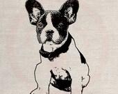 Clip Art Designs Transfer Digital File Vintage Download DIY Scrapbook Shabby Chic Pillow Burlap France Paris Dog Pet French Bulldog No. 0381