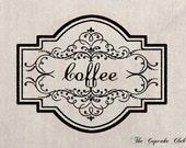 Clip Art Designs Transfer Digital File Vintage Download Shabby Chic DIY Kitchen Coffee Label Frame No. 0120
