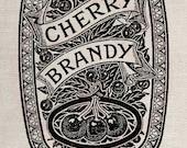 Clip Art Designs Transfer Digital File Vintage Download DIY Shabby Chic Vintage Label Cherry Brandy Alcohol Kitchen No. 0191