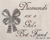 Clip Art Designs Transfer Digital File Vintage Download DIY Scrapbook Shabby Chic Pillow Burlap Diamonds are a girl's best Friend No. 0409