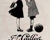 Clip Art Designs Transfer Digital File Vintage Download DIY Scrapbook Shabby Chic Pillow French Vintage Label Chocolate Children No. 0415
