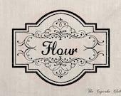 Clip Art Designs Transfer Digital File Vintage Download Shabby Chic DIY Kitchen Flour Label Frame No. 0118
