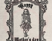 Clip Art Designs Transfer Digital File Vintage Download Shabby Chic DIY Doll Happy Mother Day No. 0104