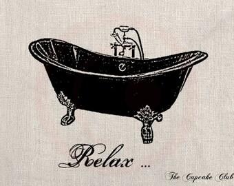 Clip Art Designs Transfer Digital File Vintage Download DIY Scrapbook Shabby Chic Furniture Bathroom Relax Bathtub No. 0214