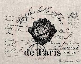 Clip Art Designs Transfer Digital File Vintage Download DIY Scrapbook Shabby Chic Retro Perfume Paris Flower Stamp Fleur French No. 0241