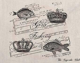 Clip Art Designs Transfer Digital File Vintage Download DIY Shabby Chic Gone Fishing Fish La Truite Music Crown No. 0193