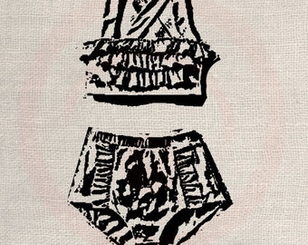Clip Art Designs Transfer Digital File Vintage Download Old Bikini Swimsuit Fashion Paris France No. 0016