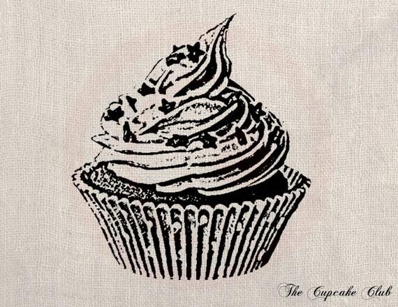 Clip Art Designs Transfer Digital File Vintage Download Cupcake Sweet Cream Cake Chocolate No. 0044