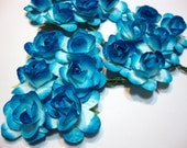 Blue White Mulberry Paper Roses Flowers Large