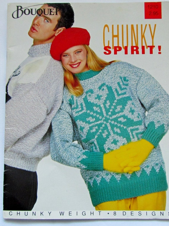 Vintage 80s Bouquet Knitting Pattern Book for Chunky Weight