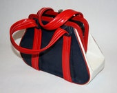 Woman's Red White n Blue Patriotic Handbag from the Late 1960s July th Independence Day High Style Fashion