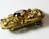 Old Austrian Brooch or Lapel Pin Signed Colored Crystal Settings w/ Pearl Costume Jewelry