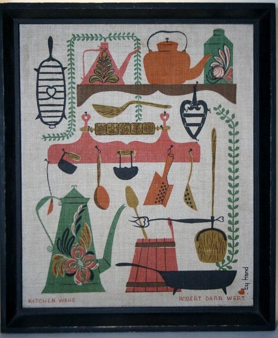 Robert Darr Wert 1950s Kitchen Linen Graphic Framed Art HandMade