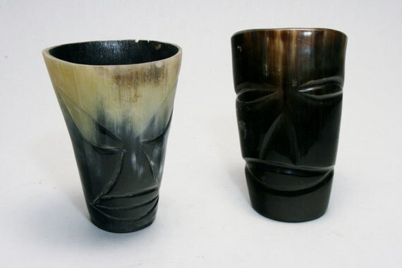 Vintage 1950's Tiki Carved Horn Drinking Bar Cups Barware