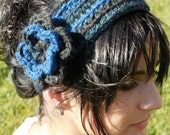 Flower Head Wrap in Blue and Green - RESERVED