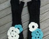 Custom Flowered Kid's Fingerless Gloves - RESERVED
