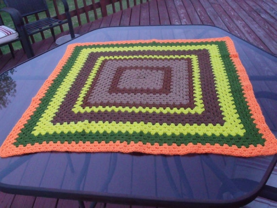 Wool  afghan hand crocheted multycolor VTG throw blanket excellent
