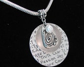Inspirational Necklace. Hope, Charity, Love, Passion, Truth, Family, Courage, Joy. Mixed Metal large Pendant with Antiqued Silver Chain.