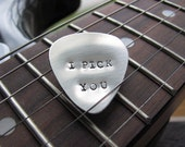 Personalized Guitar Pick: Hand Stamped custom pick in nickel, copper, aluminum, or sterling silver. Father's Day, birthday, christmas,