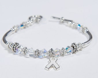 White or Pearl Ribbon Awareness Charm Bracelet: Swarovski Crystals for Lung Cancer, Emphysema, Osteoporosis, Lung Disease, Bone Disease, MHE