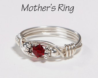 Mother's 1 Birthstone Ring: Personalized Sterling Silver Mom's Family Ring with one solitaire Swarovski Birthstone stone Crystal - Birthday