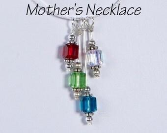 Mother's Necklace 4 Birthstones: Four Swarovski Crystal Birthstones Drop Style - Grandmother's Neckklace