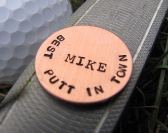 Personalized Golf Ball Marker: Hand Stamped, Custom Golf Ball Marker in Copper.Christmas, Men's gift, Valentine's Day, birthday, anniversary