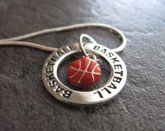 Basketball Necklace: Silver Basketball Charm Necklace