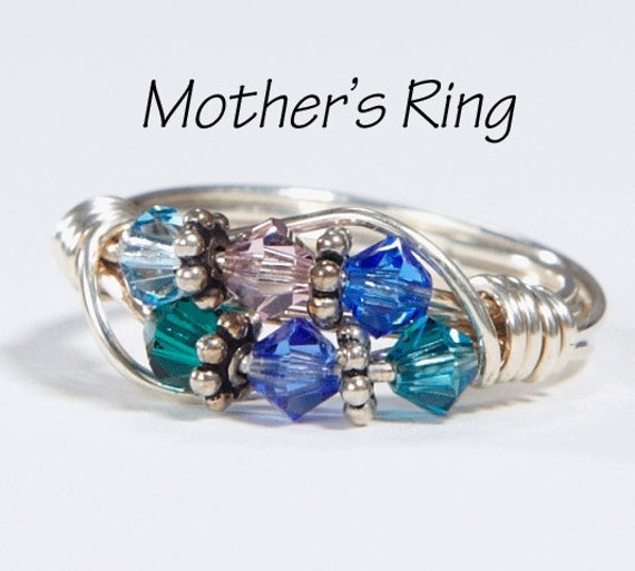 Grandmother's/Mother's Ring 6 Birthstones: Personalized Sterling Silver multi-stone Family. Six Swarovski Crystals. Birthday, Christmas