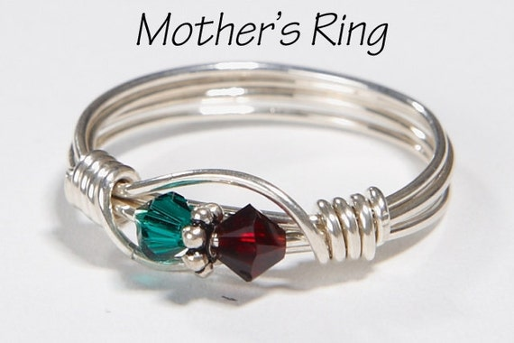 2 stone mother 39 s birthstone ring personalized sterling. Black Bedroom Furniture Sets. Home Design Ideas