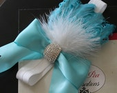 Precious Aqua feather headband