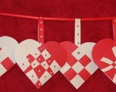 Danish Woven Paper Hearts - set of 5