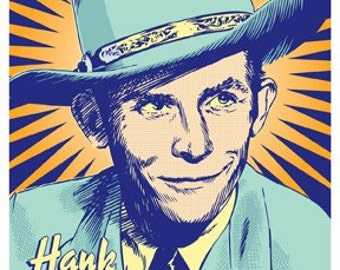 Hank Williams, Sr. -  Pop Art Poster Print - 18 x 24 and 24 x 36