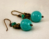Chic Turquoise Earrings with Antique Gold Butterflies.  Statement.  Sale.