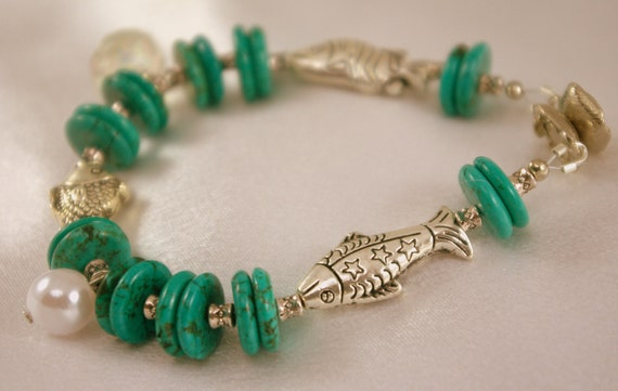 Turquoise Howlite Bracelet with Silver Fish Beads and Charms.  Everyday Evening.  Clearance.