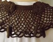 Vintage Brown Crocheted Civil War Collar