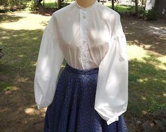 Ladies Civil War Garibaldi Blouse Sizes 16 to 24 Muslin Blouse