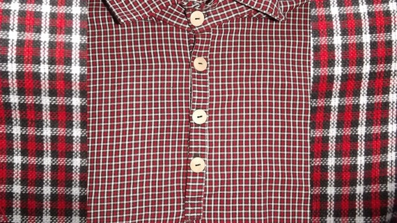 Mens Civil War Red Plaid Shirt Size Extra Large
