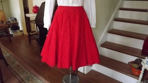 Vintage Cherry Red Quilted Poodle Type Skirt