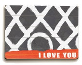 Wooden Art Sign Planked XO I Love You 25x34 wall decor
