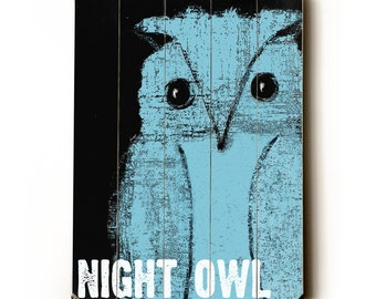 Wooden Art Sign Planked Night Owl blue on black wall art