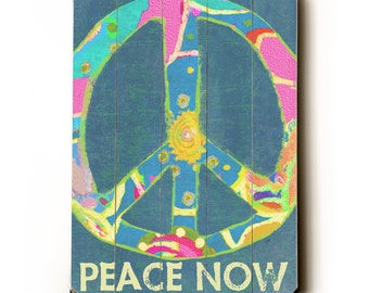 Wooden Art Sign Planked Peace Now peace sign wall decor