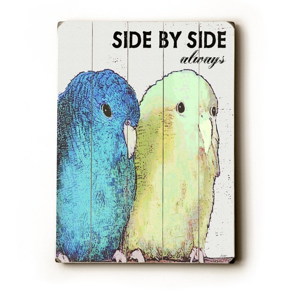 Wooden Art Sign Planked Side By Side Love Birds wall decor