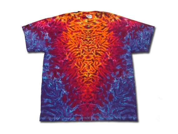 Tie dye T shirt mirror image fire crinkle v with purple edges