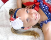 Fourth of July Headband, Newborn Headband, Baby headband, Toddler Headband, Summer Headband, Red White Blue Headband, Flower Headband