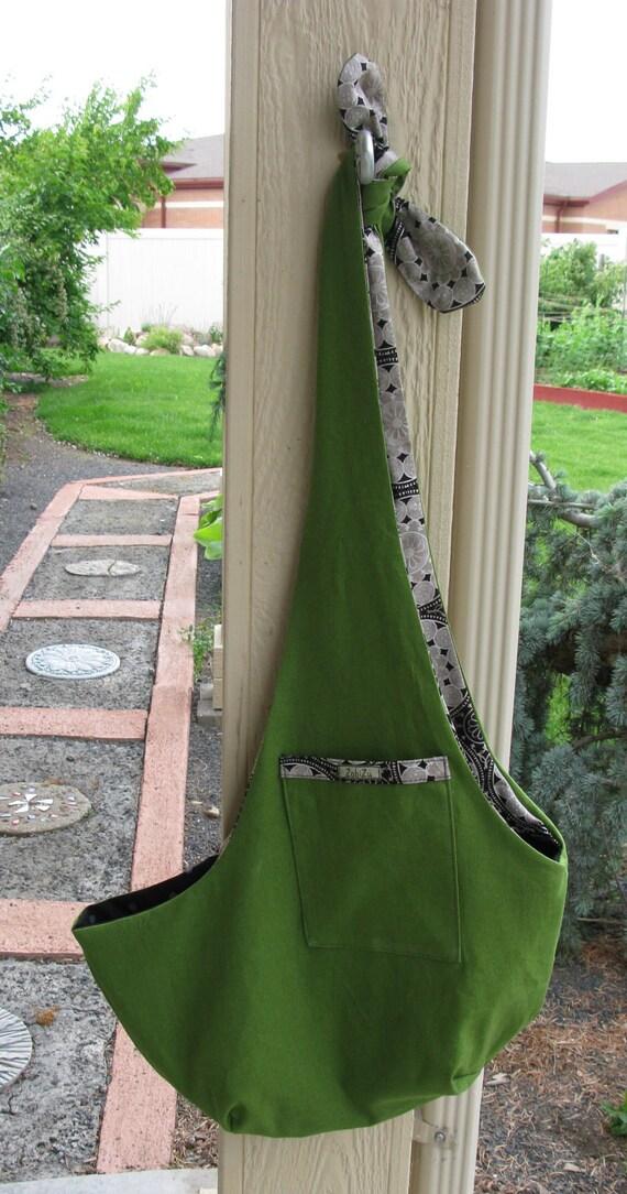 Pet Sling Large- Linen Green and Black Geometric