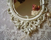 TREASURY ITEM Large Baroque  Ornate French Cottage Inspired Mirror white distressed chippy