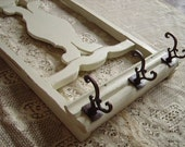 TREASURY ITEM Salvaged Country cottage Wall coat hanger, recycled chair, wood, distressed, creamy white