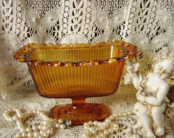 Vintage Glass Topaz Footed  Dish, trinket dish
